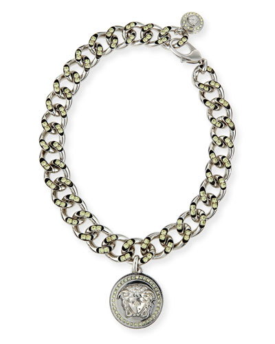 Oversized Crystal Link Medallion Necklace