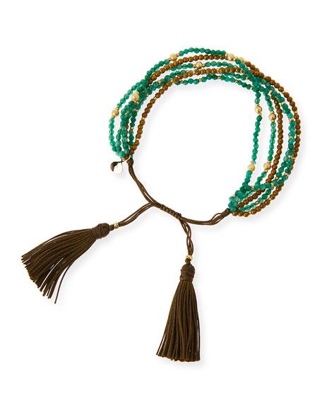 Multi-Strand Agate Beaded Bracelet, Green