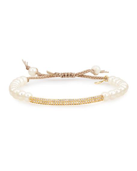 Simulated Pearl & Pave Bar Slide Bracelet