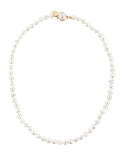 "6mm Pearl Necklace with Mabe Clasp, 18""L"