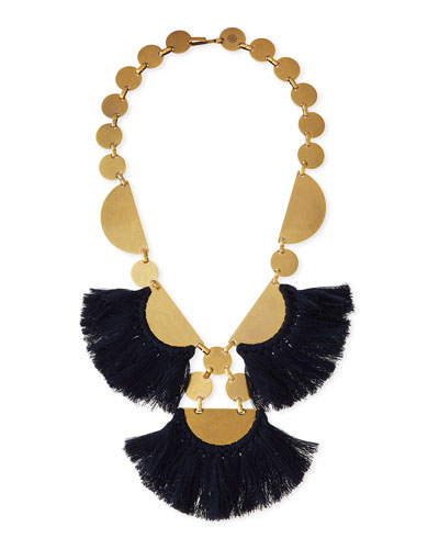 Fringe-Disc Statement Necklace, Blue