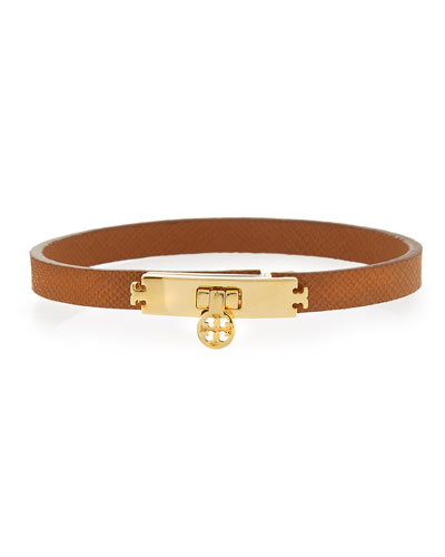 Skinny Leather Turn-Lock Bracelet