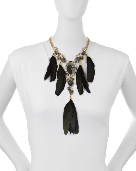 Elements Large Raven Feather Necklace