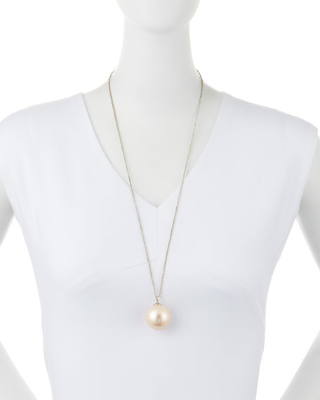 Sands of Time Simulated Pearl Pendant Necklace