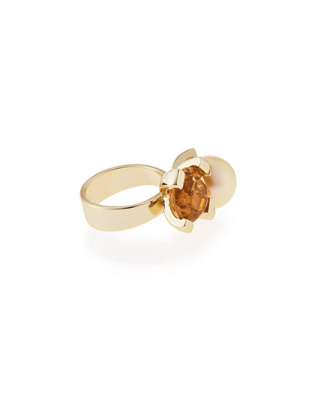Reef Smoky Glass Quartz & Pearly Ring, Size 7