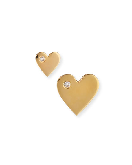 Jennifer Zeuner Mini Diamond Heart Stud Earrings