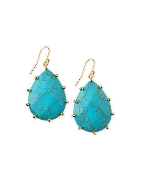 Stabilized Turquoise Teardrop Earrings