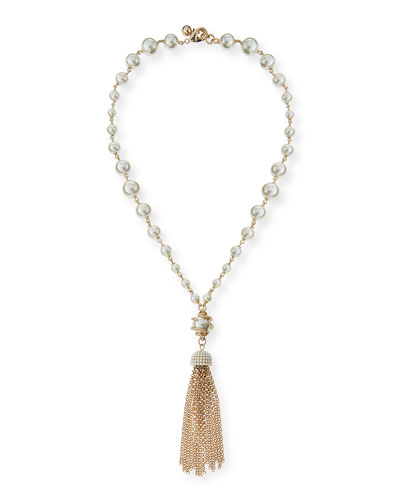 Simulated Pearl Long Tassel Necklace