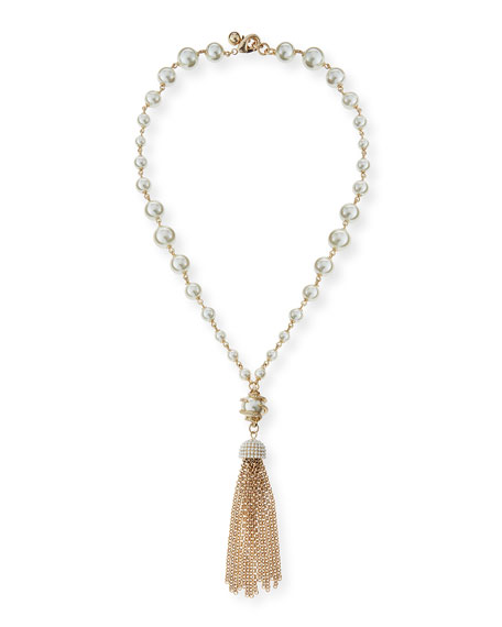 Lulu Frost Simulated Pearl Long Tassel Necklace