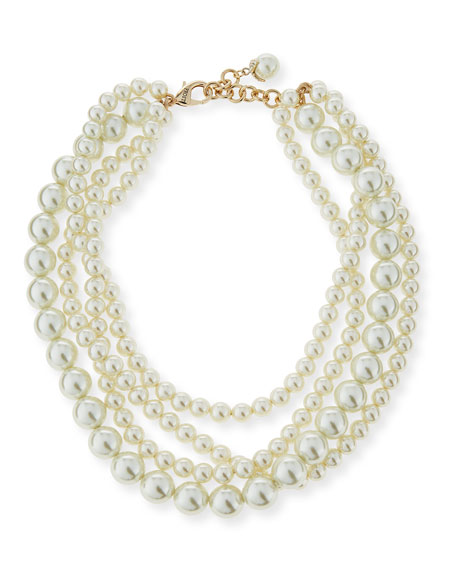 Simulated Pearl Multi-Strand Necklace, 16""