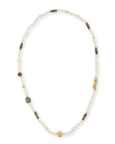 Long Pearl Necklace with Labradorite, Pyrite & Druzy