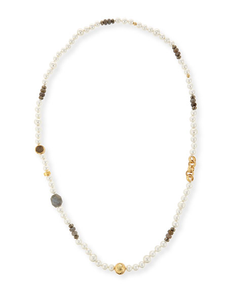 NEST Jewelry Long Pearl Necklace with Labradorite, Pyrite