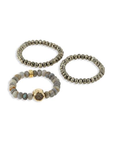Labradorite and Pyrite Stretch Bracelets, Set of 3