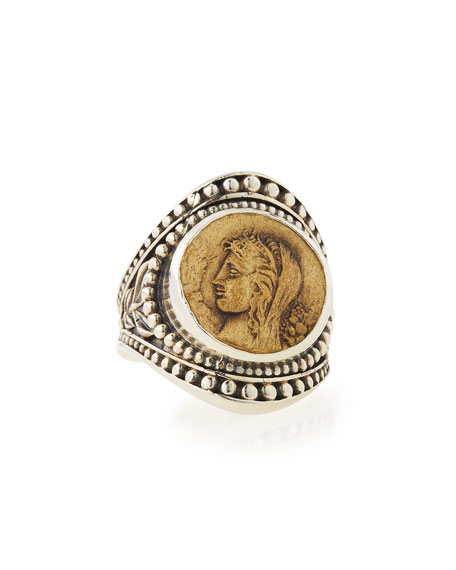 Konstantino Silver & Bronze Coin Medallion Ring