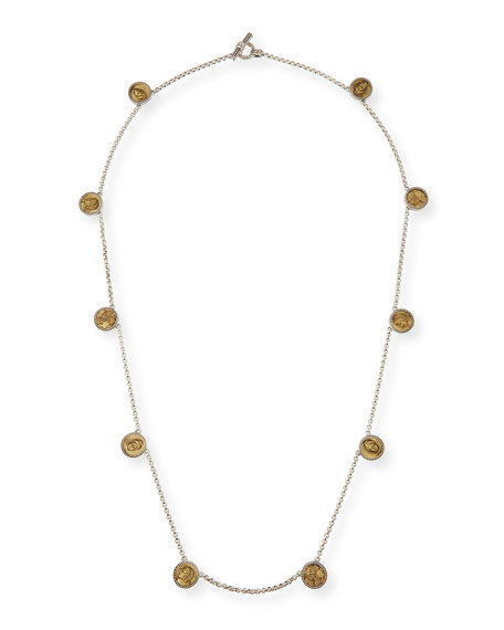 Konstantino Silver and Bronze Long Coin Necklace, 36