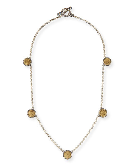 Konstantino Silver & Bronze Five-Station Coin Necklace