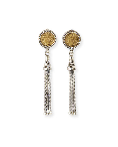 Silver & Bronze Coin Tassel Earrings