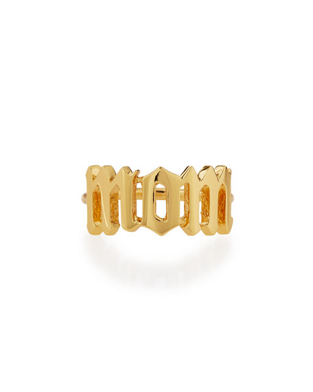 Sarah Chloe Ava Gothic 14k Gold Personalized Ring mM3KyEu2W