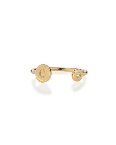 Rocha 14k Gold Initial Open Diamond Ring
