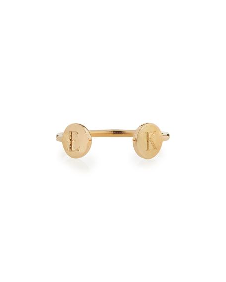 Rocha 14k Gold Two-Initial Open Ring