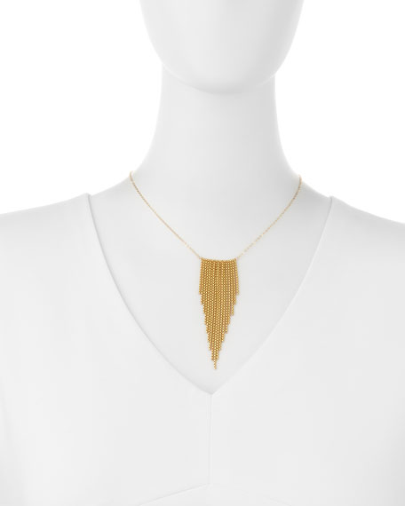 Gold-Dipped Large Fringe Chevron Necklace
