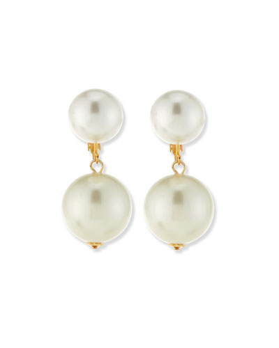 Double Pearly Drop Earrings