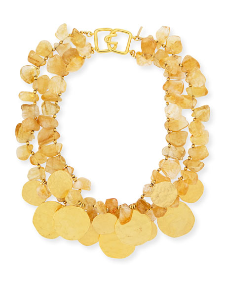 Kenneth Jay Lane 2-Row Citrine Glass & Golden