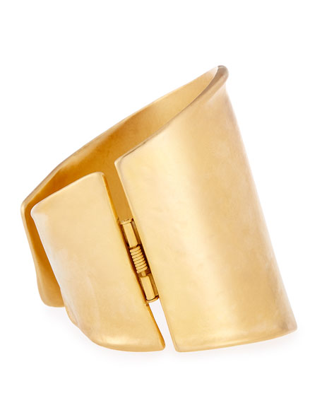 Satin-Finish Golden Hinge Cuff