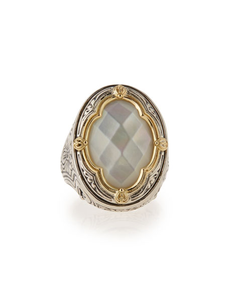 Silver & 18k Gold Mother-of-Pearl Oval Ring