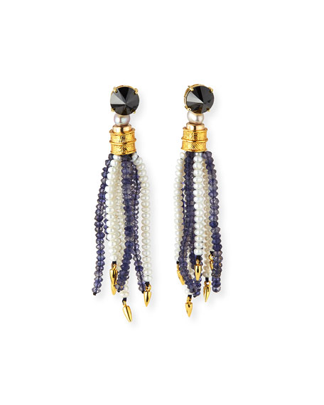 Lizzie Fortunato Oasis Iolite & Pearl Tassel Earrings