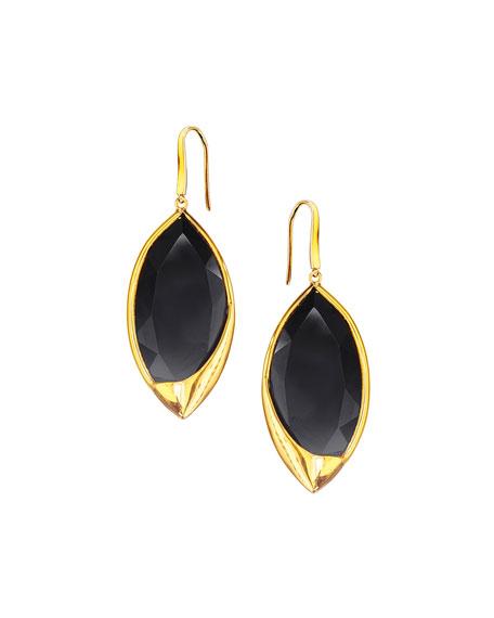 14k Jet Black Marquise Earrings