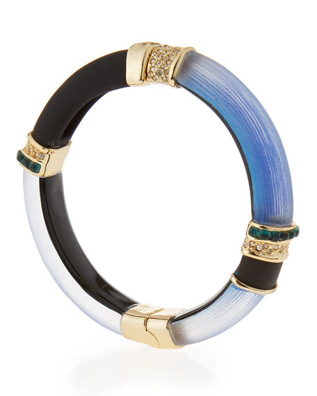 Lucite Colorblock Cabochon Hinge Bracelet