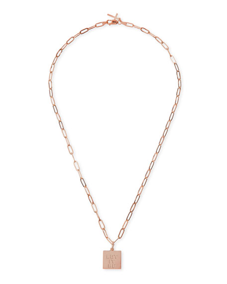 Katie Design Jewelry Rose Gold Vermeil Let It Be Petite Charm Necklace ...