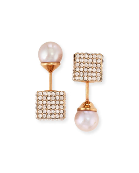 Vita Fede Double Cubo Crystal Pearl Earrings