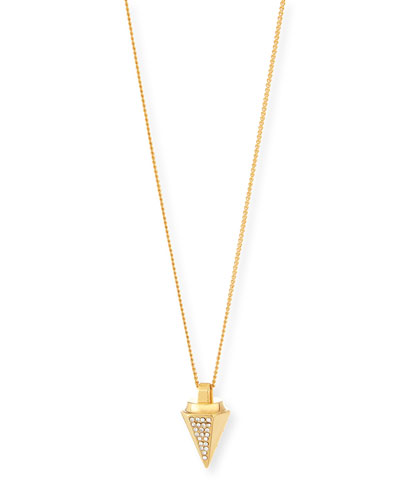 Thea Rose Gold Plate Pave Pendant Necklace