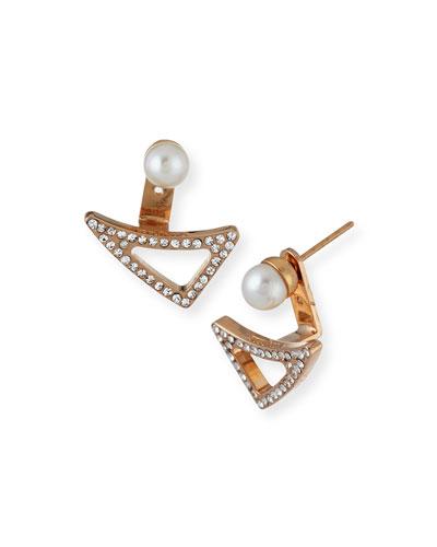 Leaf Crystal and Pearl Jacket Earrings