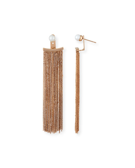 Vita Fede Bianca Pearl and Chain Fringe Earrings