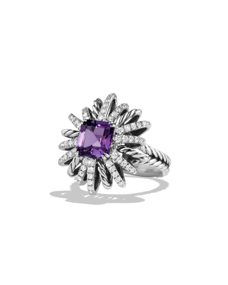David Yurman 23mm Diamond & Amethyst Starburst Ring