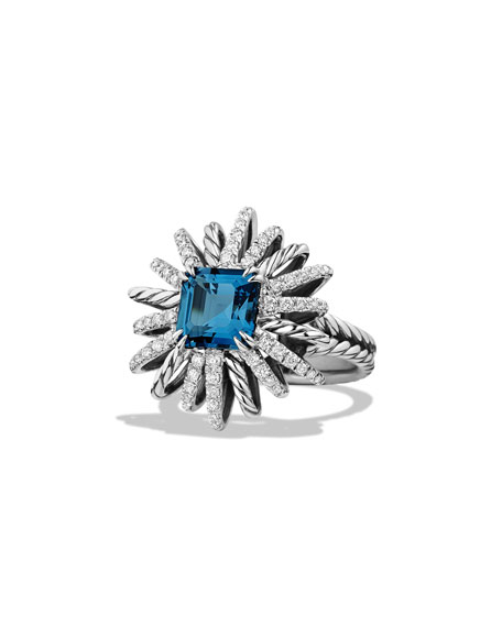 23mm Diamond & Blue Topaz Starburst Ring