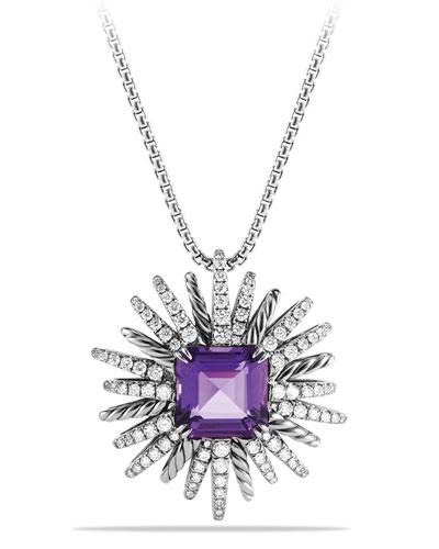 30mm Starburst Diamond & Amethyst Pendant Necklace