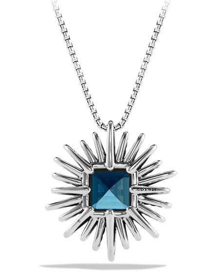 Blue Topaz & Diamond Starburst Necklace