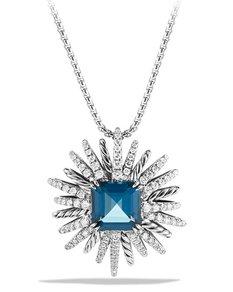 David Yurman Blue Topaz & Diamond Starburst Necklace