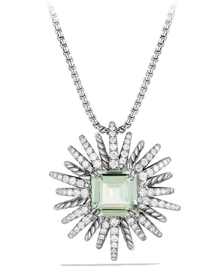 30mm Starburst Diamond & Prasiolite Pendant Necklace