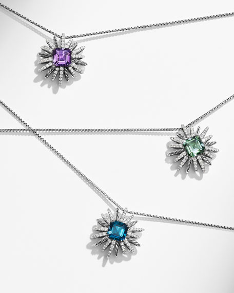 23mm Prasiolite Starburst Pendant Necklace