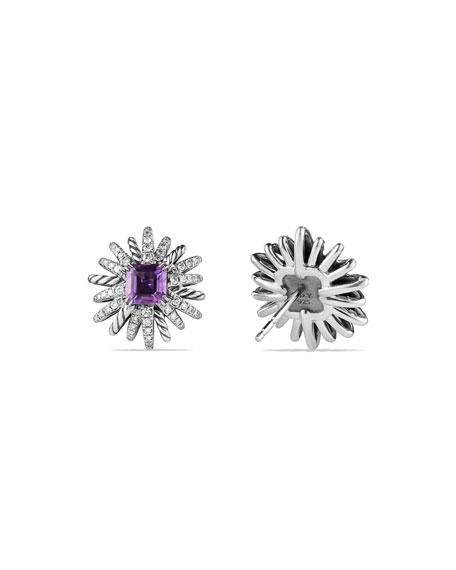 19mm Diamond & Amethyst Starburst Earrings