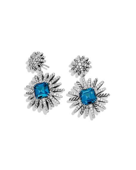 19mm Diamond & Hampton Blue Topaz Starburst Earrings