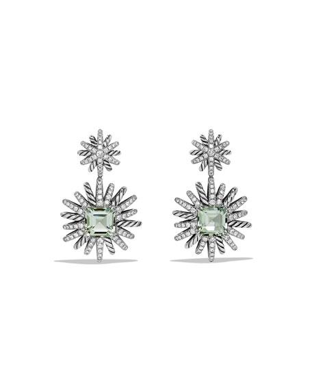 Starburst Prasiolite & Diamond Drop Earrings