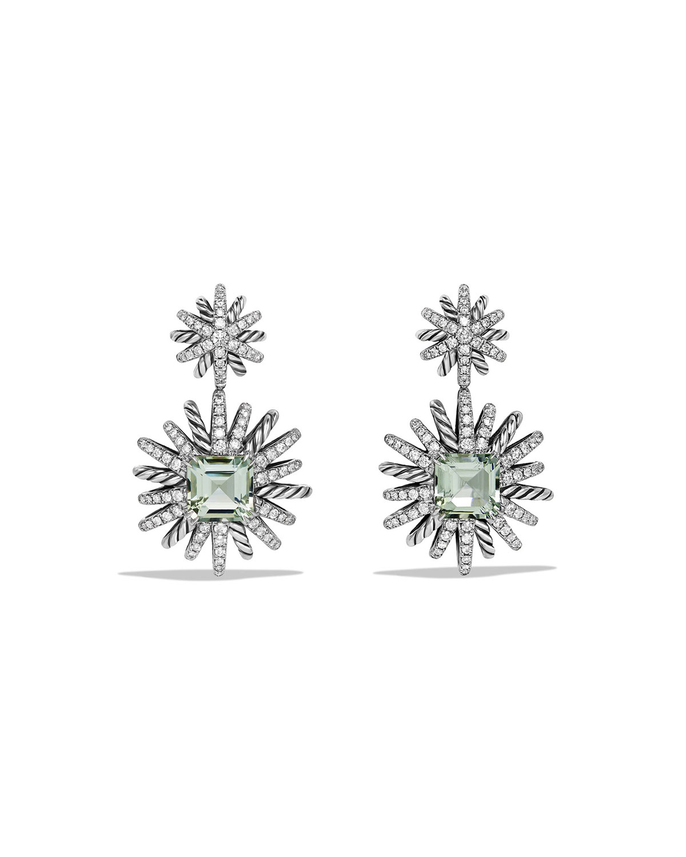 Starburst Prasiolite Diamond Drop Earrings