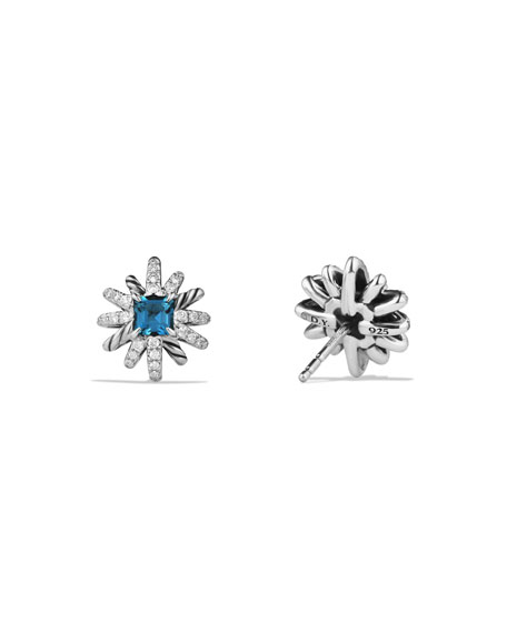 12mm Starburst Diamond & Blue Topaz Button Earrings