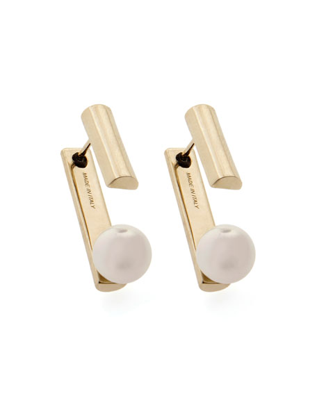 Gold-Plated Pearly Jacket Earrings